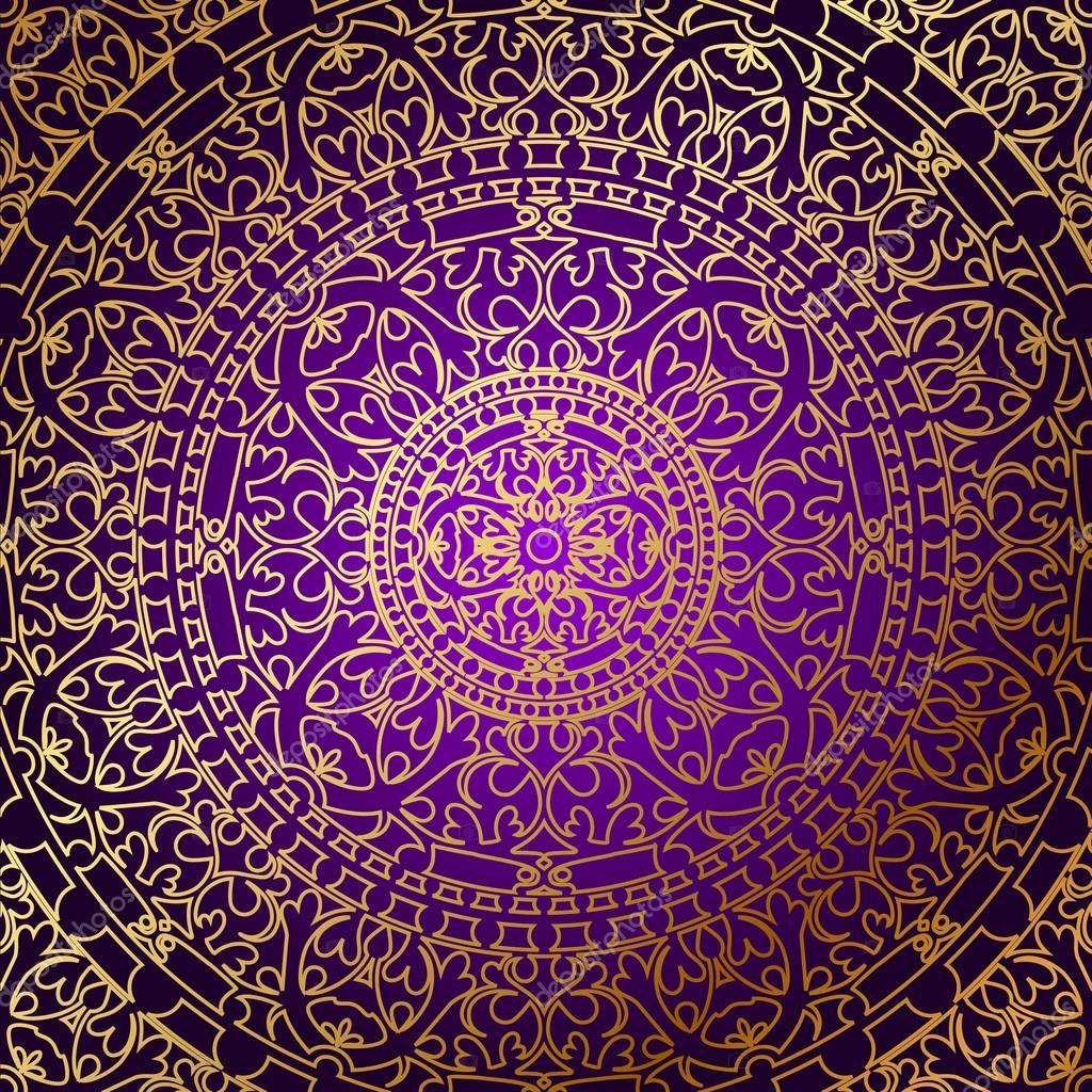 Vecteur Oriental Fond Violet Avec Ornement Or Image