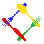 Vector colorful cutlery frame — Stock Vector