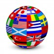 Vector illustration of 3d sphere with world flags — Stock Vector