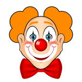 Vector illustration of smiling clown with red bow — Stock Vector