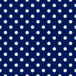 Vector seamless pattern - blue with white polka dots — Stock Vector