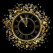 Reloj brillante año nuevo vector — Vector de stock