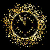 矢量闪亮新年时钟 — 图库矢量图片