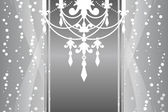 Vector silver frame with chandelier — Vector de stock