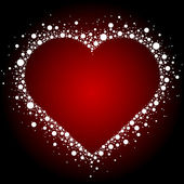 Vector illustration of white heart frame on red background — Stock Vector
