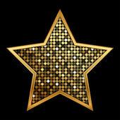 Vector illustration of gold shiny star — Stock Vector