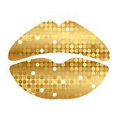 Vector illustration of gold shiny lips — Stock Vector