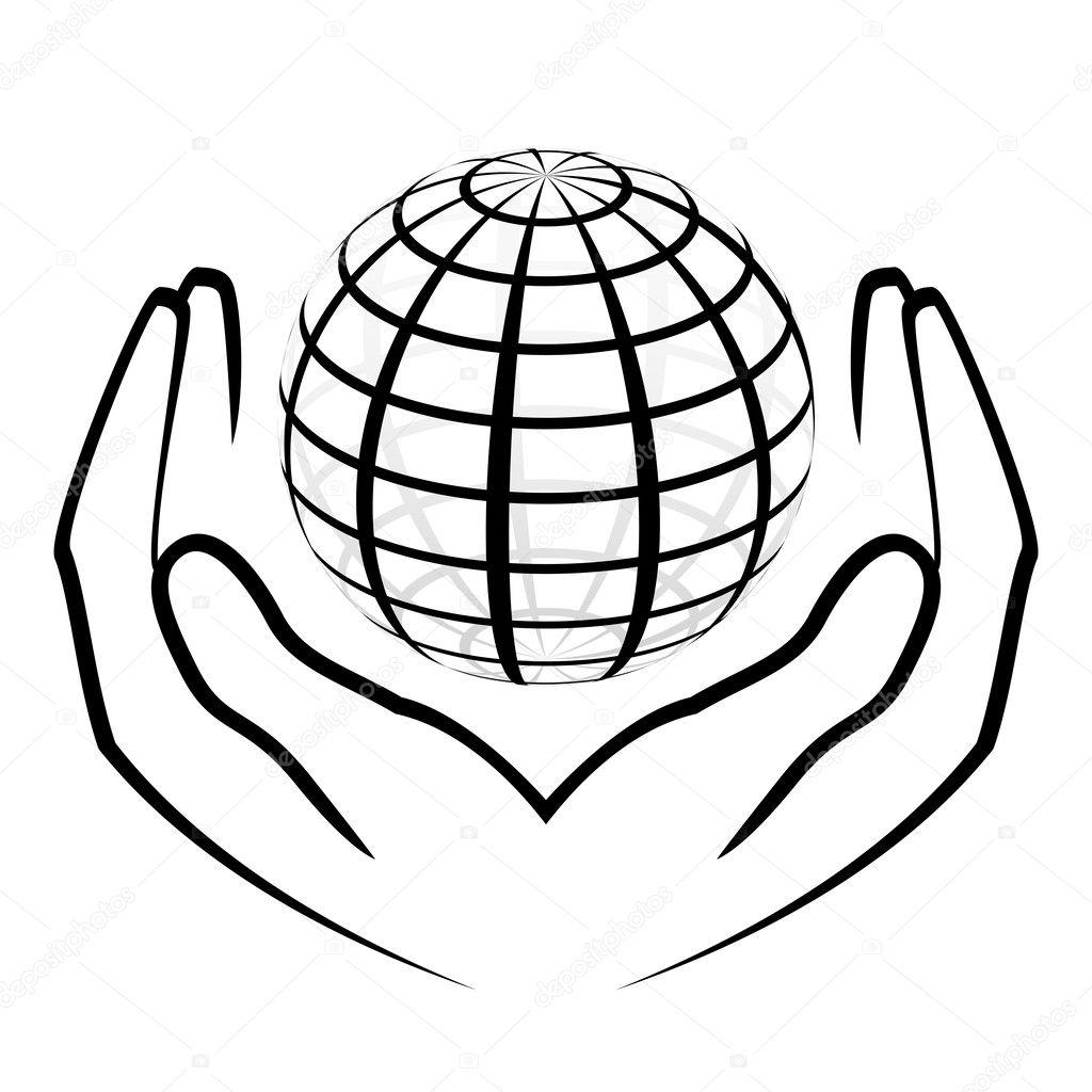手牵一个地球仪矢量插画