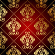 Stock Vector: Vector red and gold ornate wallpaper