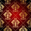 Vector red and gold ornate wallpaper — Stock Vector