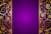 Vector gold ornament on purple background — Stock Vector