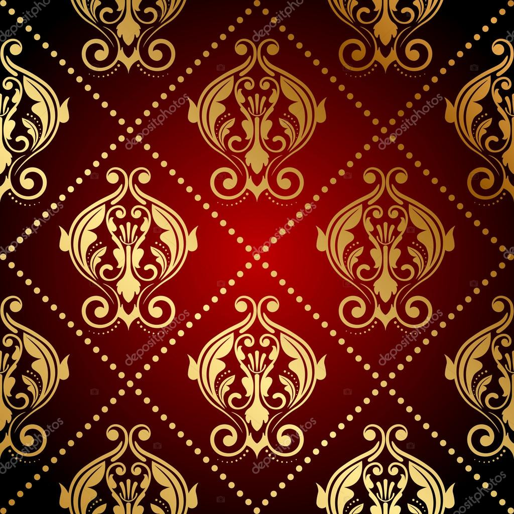 Red And Gold Wallpaper For Walls Vector red and gold ornate
