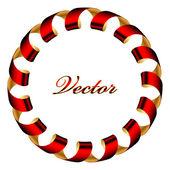 Kırmızı ve altın şerit çerçeve vektörel — Stok Vektör