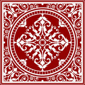 Vector red and white asian rug — Stock Vector