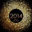Vector - Happy New Year 2014 - gold disco lights frame — Vector de stock
