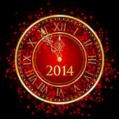 Vector illustration of red and gold New Year clock — Vecteur