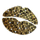 Vector lipstick print with disco lights — Stock Vector