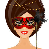 Vector illustration of woman with mask — Stok Vektör