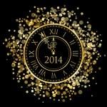 2014 - Vector shiny New Year Clock — Stock Vector