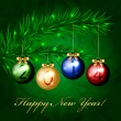 2014 - Vector christmas tree with colorful decorations — Vector de stock #35158483