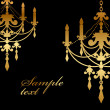 Vector black background with gold chandelier — Image vectorielle