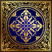 Vector illustration of oriental blue & gold rug — Stock Vector