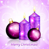 Vector Merry Christmas purple background with candles and decora — Stock Vector