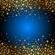 Vector blue background with gold sparkles — Stock Vector