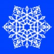 Vector illustration of snowflake on blue background — Stock Vector