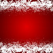 Vector red background with white floral decorations and snowflak — Stock Vector