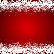 vector red background with white floral decorations and snowflak — Stock Vector #35164183