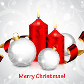 Vector Merry Christmas background with red candles and decoratio — Vector de stock
