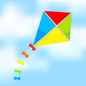 Vector illustration of colorful kite on sky — Stock Vector