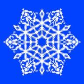 Ilustración vectorial de copo de nieve sobre fondo azul — Vector de stock