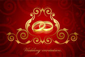 Vector red and gold wedding invitation — Stock Vector