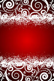 Vector red background with white floral decorations and snowflak — Wektor stockowy