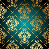 Vector turquoise and gold ornate wallpaper — Stock Vector
