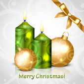 Vector Merry Christmas background with green candles — Stock vektor