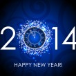Vector 2014 Happy New Year blue background with clock — Imagen vectorial