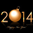 Vector 2014 Happy New Year background with gold christmas bauble — Stock Vector