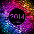 Vector - Happy New Year 2014 - colorful disco lights background — Stock Vector