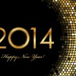Vector - 2014 Happy New Year 2014 golden glowing — ベクター素材ストック
