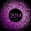 Vector - Happy New Year 2014 - purple disco lights background — Stock Vector