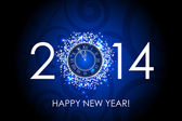 Vector 2014 Happy New Year blue background with clock — 图库矢量图片
