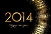 Vector - 2014 Happy New Year 2014 golden glowing — Stock Vector