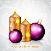 Vector Merry Christmas background with gold & purple candles and — Stock vektor