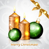 Vector Merry Christmas background with baubles decorations — Stock vektor