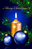 Vector blue Christmas background with gold candle — Stockvector
