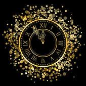 Vector gold New Year Clock — Vecteur
