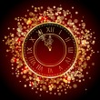 Stock Vector: Vector red and gold New Year clock